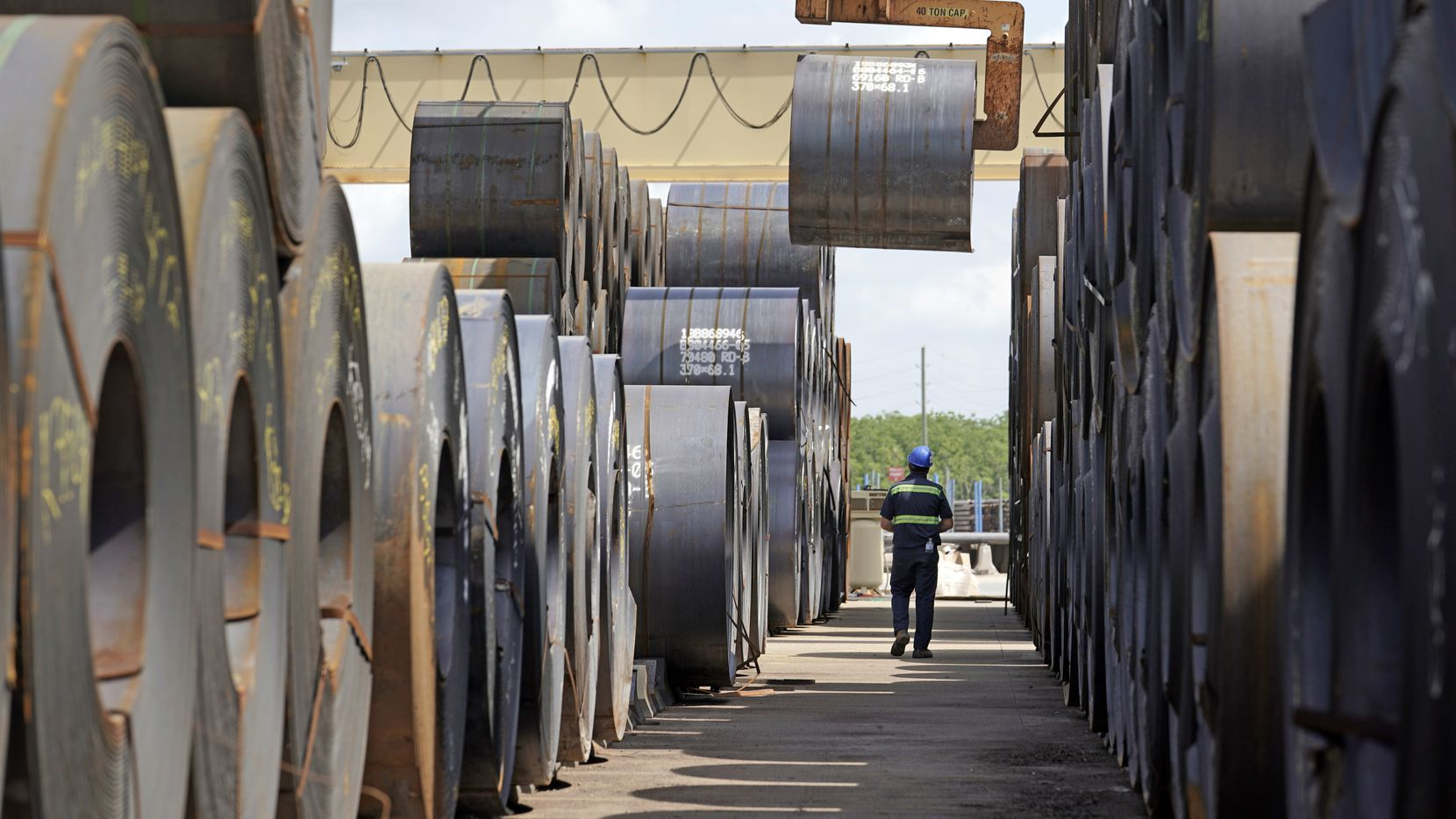 A roll of steel is moved at the Borusan Mannesmann Pipe manufacturing facility in Baytown, Texas.