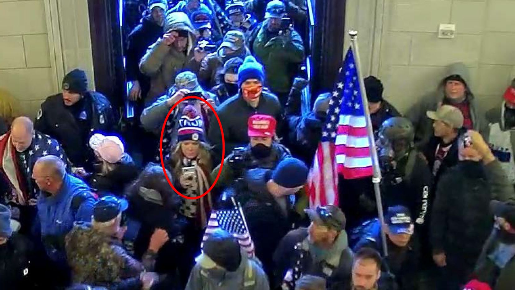 """A security camera surveillance photo included in a FBI criminal complaint filed against Jenna Ryan, of Frisco, which the FBI says shows Ryan (circled in red) entering the U.S. Capitol along with other pro- Donald Trump supporters who raided the building on Jan. 6, 2021 as Congress was meeting to certify the results of President-elect Joe Biden's victory. Jennifer """"Jenna"""" Leigh Ryan, 50, is charged with """"knowingly entering or remaining in any restricted building or grounds without lawful authority"""" and """"disorderly conduct on Capitol grounds,"""" according to the complaint filed in U.S. District Court for the District of Columbia. It alleges that she engaged in """"disruptive conduct"""" in the Capitol with the """"intent to impede, disrupt, or disturb the orderly conduct of a session of Congress."""""""