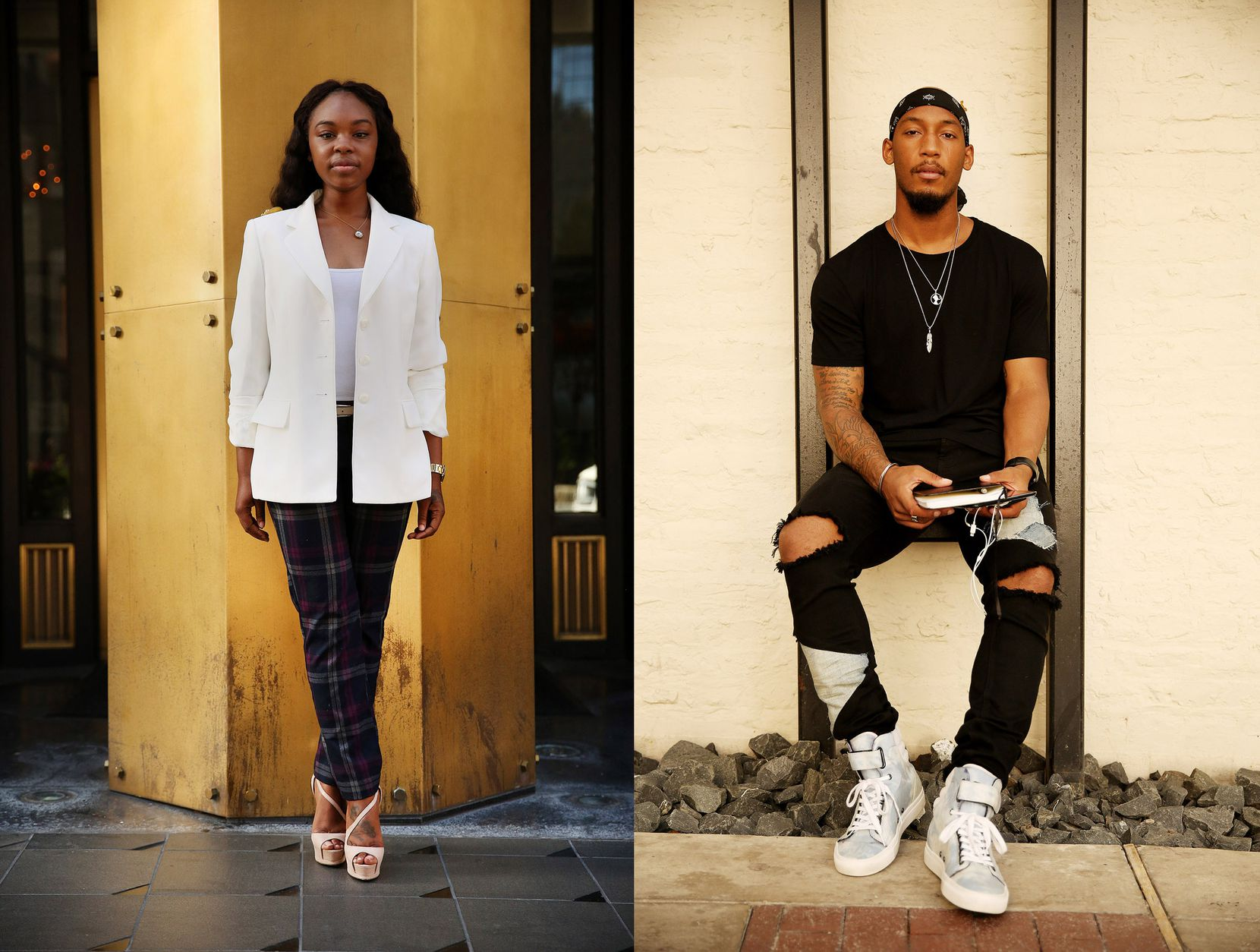 Ashli King (left) a personal wardrobe stylist at Neiman Marcus, was photographed along Main Street. Carlos Harris, a lifestyle, fashion, fitness blogger, was photographed in the alley connecting Commerce and Main Streets. Both were photographed on  July 11.