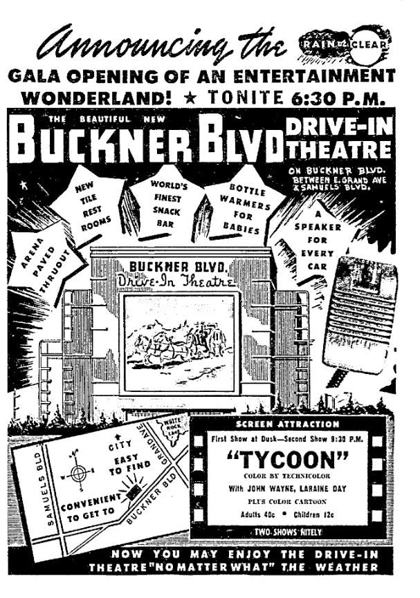 Buckner Boulevard Drive-In Theater's newspaper ad.