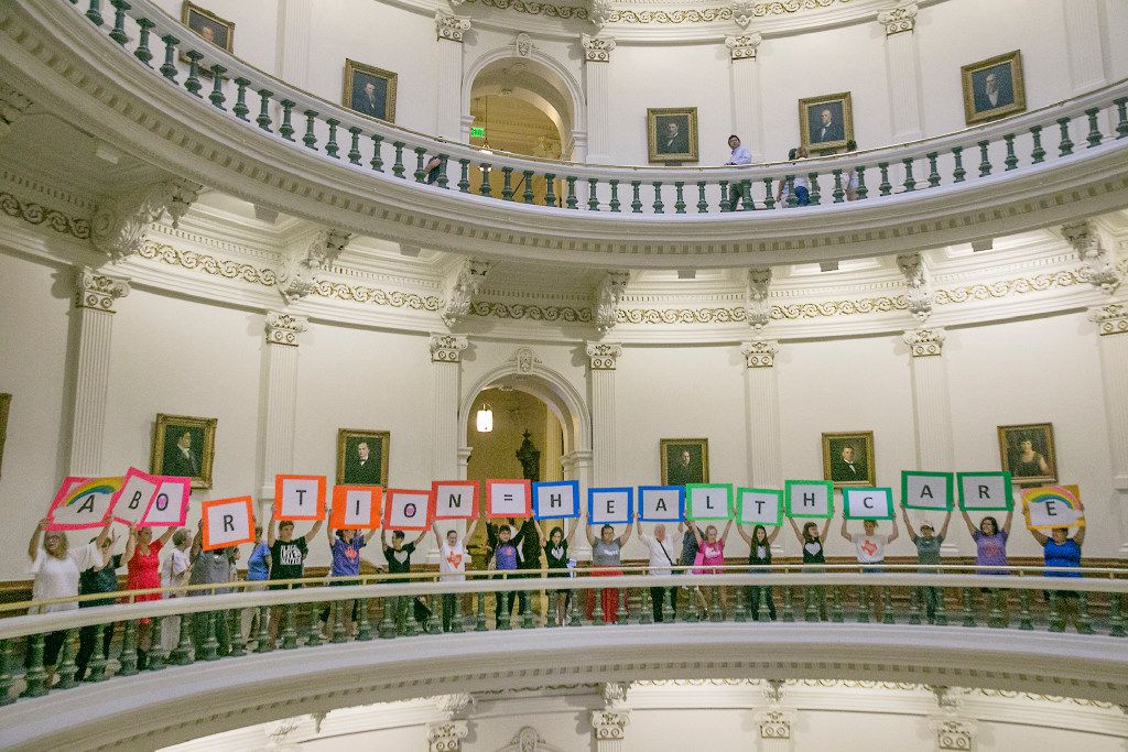 Representatives of the Trust, Respect, Access Coalition gathered in the Texas Capitol Rotunda Thursday afternoon July 27, 2017 to voice their opposition to abortion legislation.