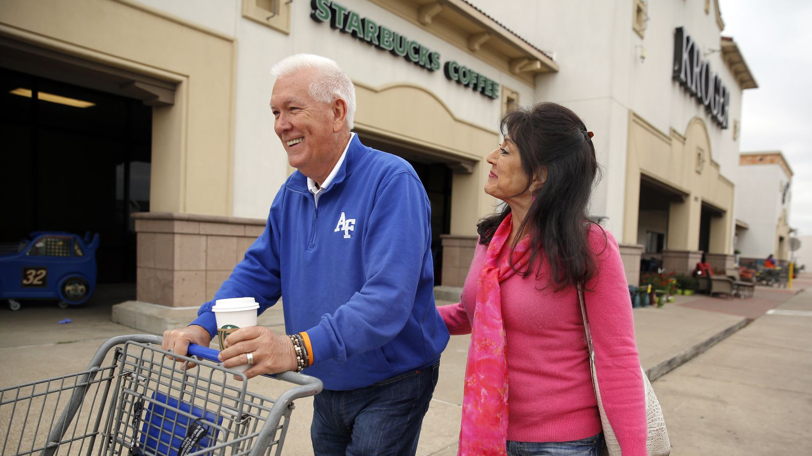 Former coach then local sportscaster and current commercial actor Eddy Clinton and his wife Anna Clinton of Plano bought a load of groceries for Kristin Tarrence in Farmers Branch, Friday, March 20, 2020. Tarrence found Clinton on Facebook and reached out for assistance during the coronavirus outbreak.