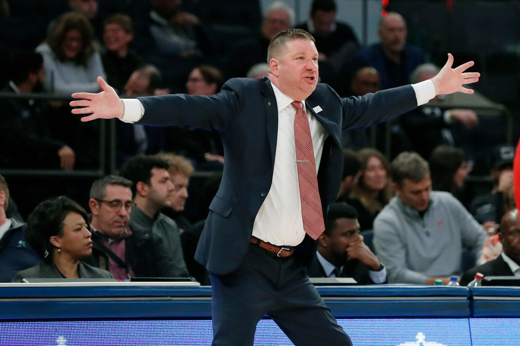 Texas Tech head coach Chris Beard gestures during the first half of an NCAA college basketball game against Louisville in the Jimmy V Classic, Tuesday, Dec. 10, 2019, in New York.