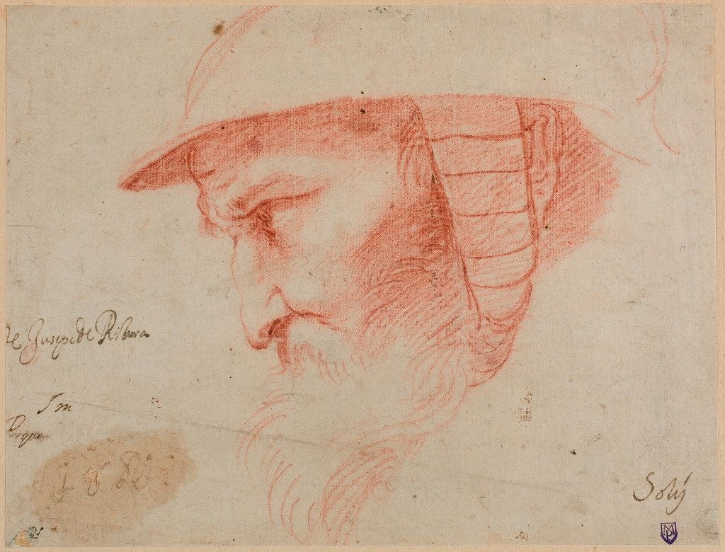 Jusepe de Ribera (Spanish, 1591-1652), Head of a Warrior, first half of the 1610s. Red chalk. Museo Nacional del Prado, D2190  Between Heaven and Hell: The Drawings of Jusepe de Ribera March 12 – June 11, 2017