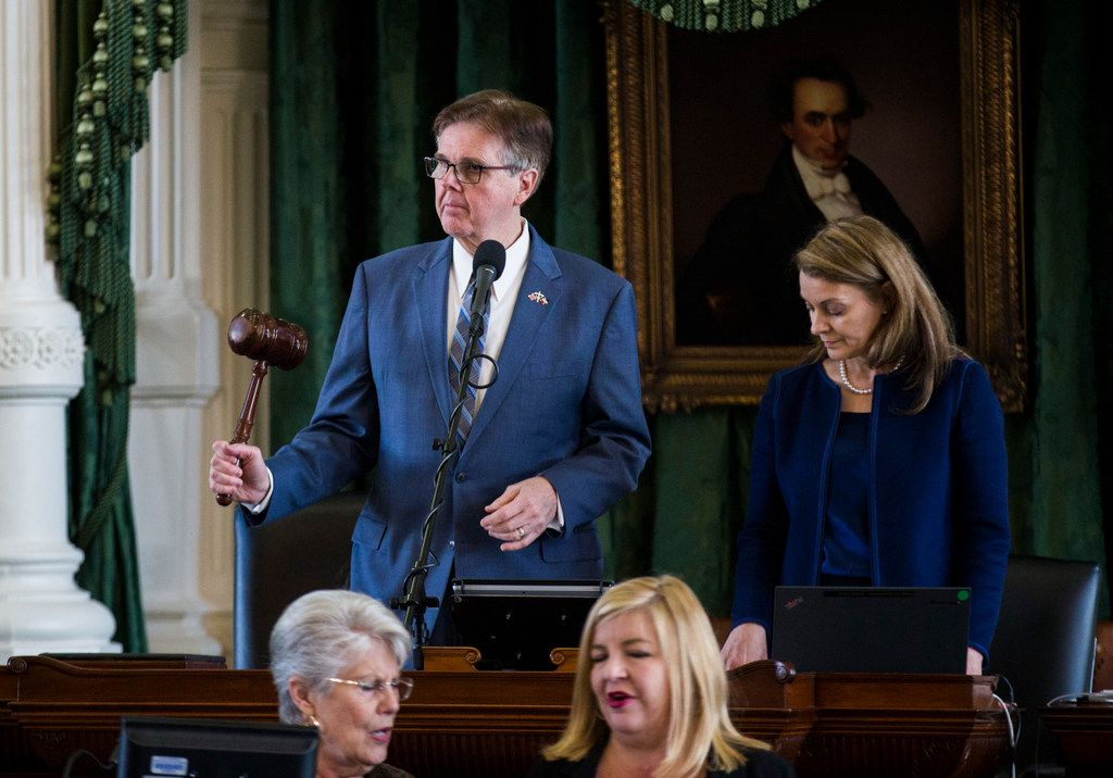 Lt. Governor Dan Patrick bangs a gavel on the second day of the 86th Texas legislature on Wednesday, January 9, 2019 at the Texas state capital in Austin, Texas. (Ashley Landis/The Dallas Morning News)