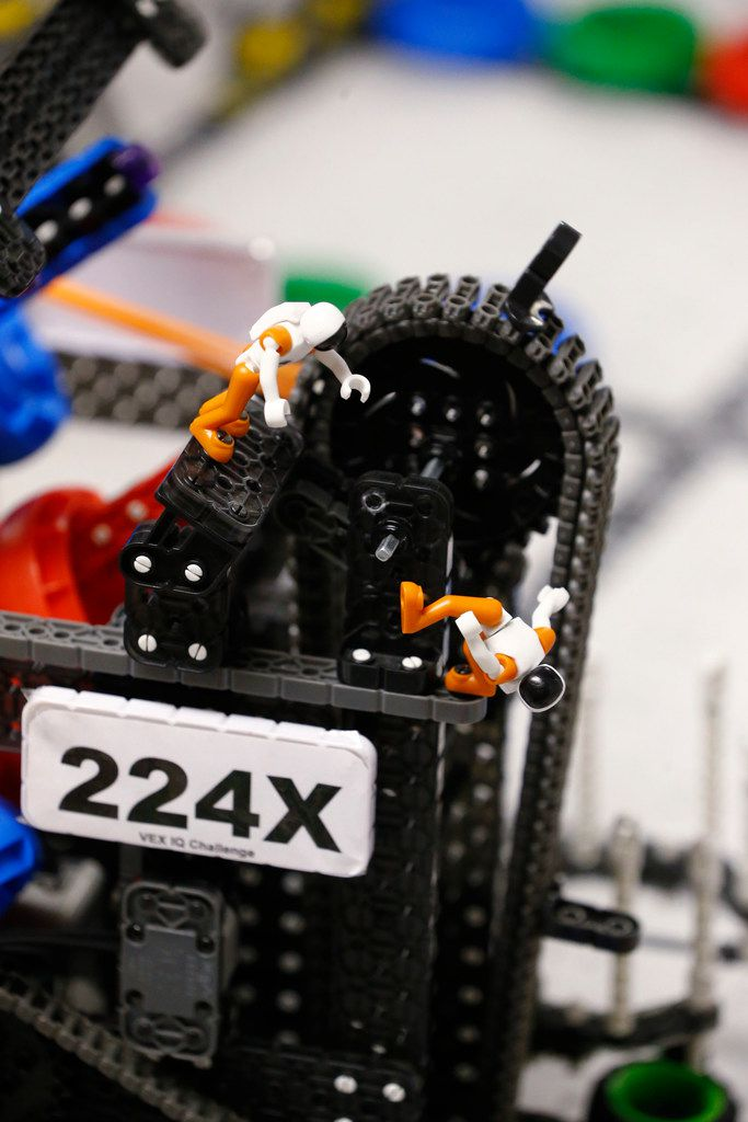 Toy astronauts decorate the robots of the robotics teams at Winnetka Elementary in Dallas.
