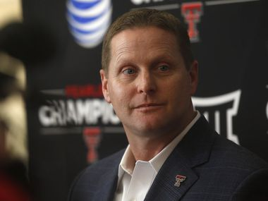Texas Tech athletic director Kirby Hocutt speaks during a press conference in Lubbock, Texas, Monday, Feb. 9, 2015.