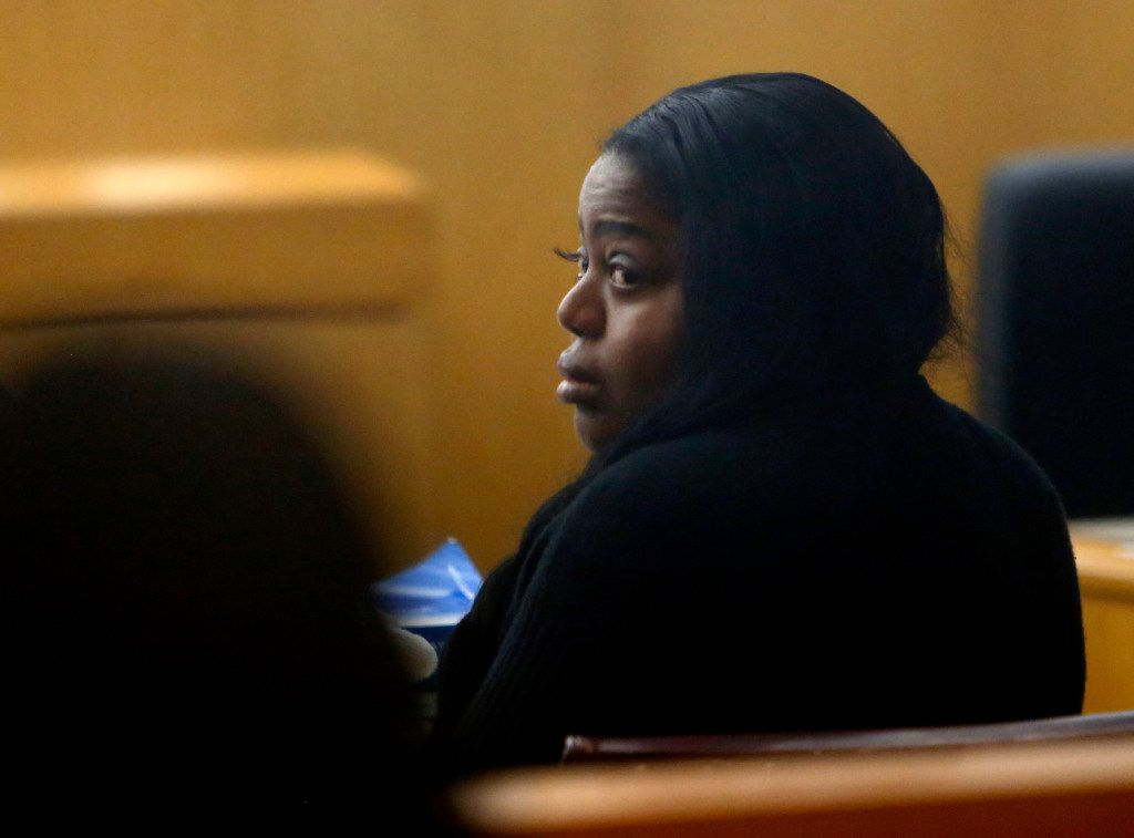 Denise Rochelle Ross sits with her attorney during a murder trial at Dallas County 204th district court at the Frank Crowley Courts Building in Dallas on Tuesday, March 21, 2017. Ross is being tried for murder after being accused of administering a fatal black-market injection into the buttocks of Wykesha Reid. (Rose Baca/The Dallas Morning News)
