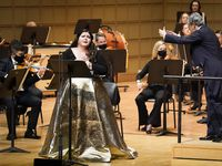 Soprano Angela Meadeperforms as Fabio Luisi conducts the Dallas Symphony Orchestra in concert at the Meyerson Symphony Center on Thursday, Oct. 29, 2020, in Dallas.