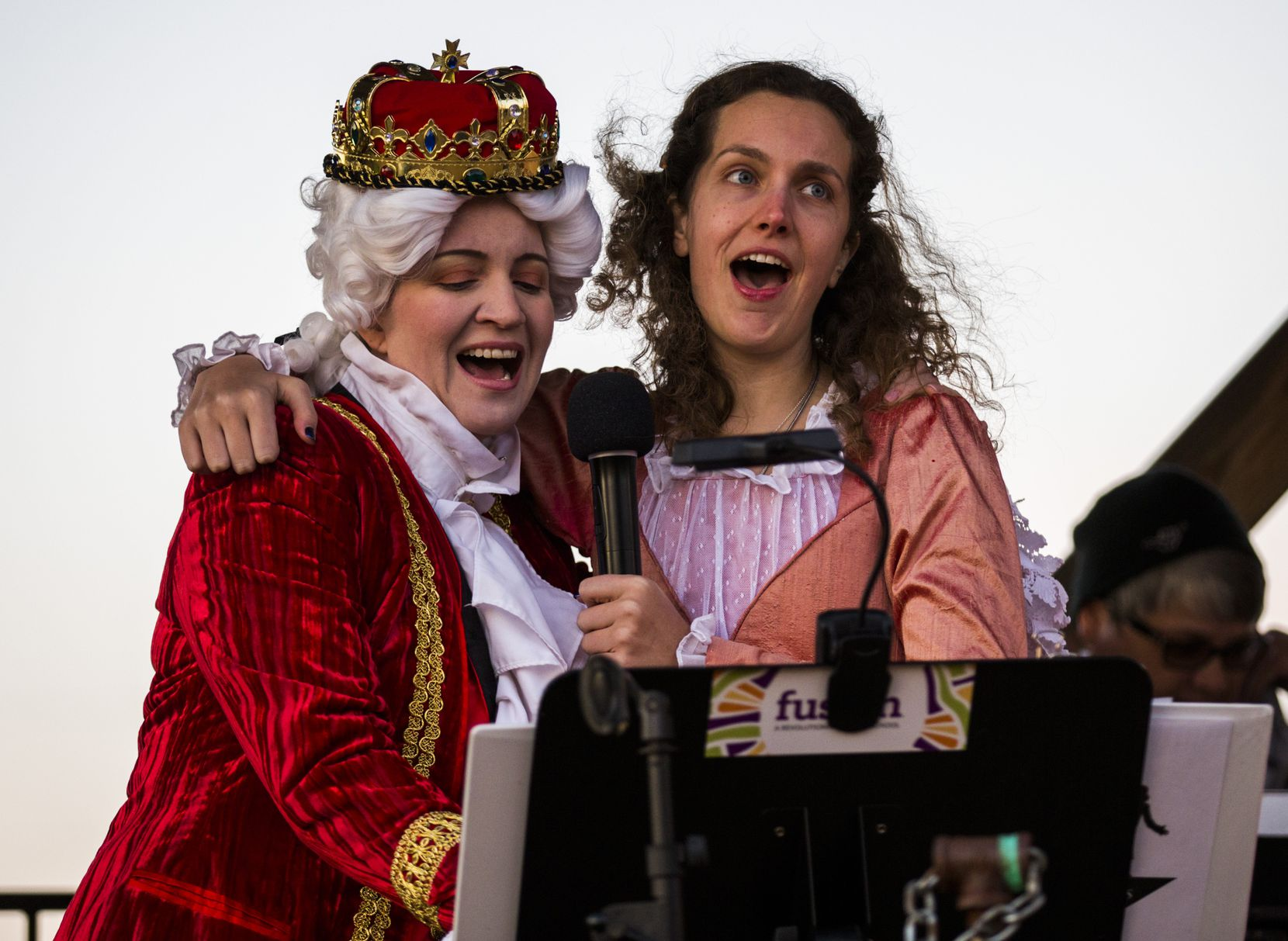 Suzanne Solomon (left) and Priscilla Spencer got into the act at a 2019 Hamiltunes event.