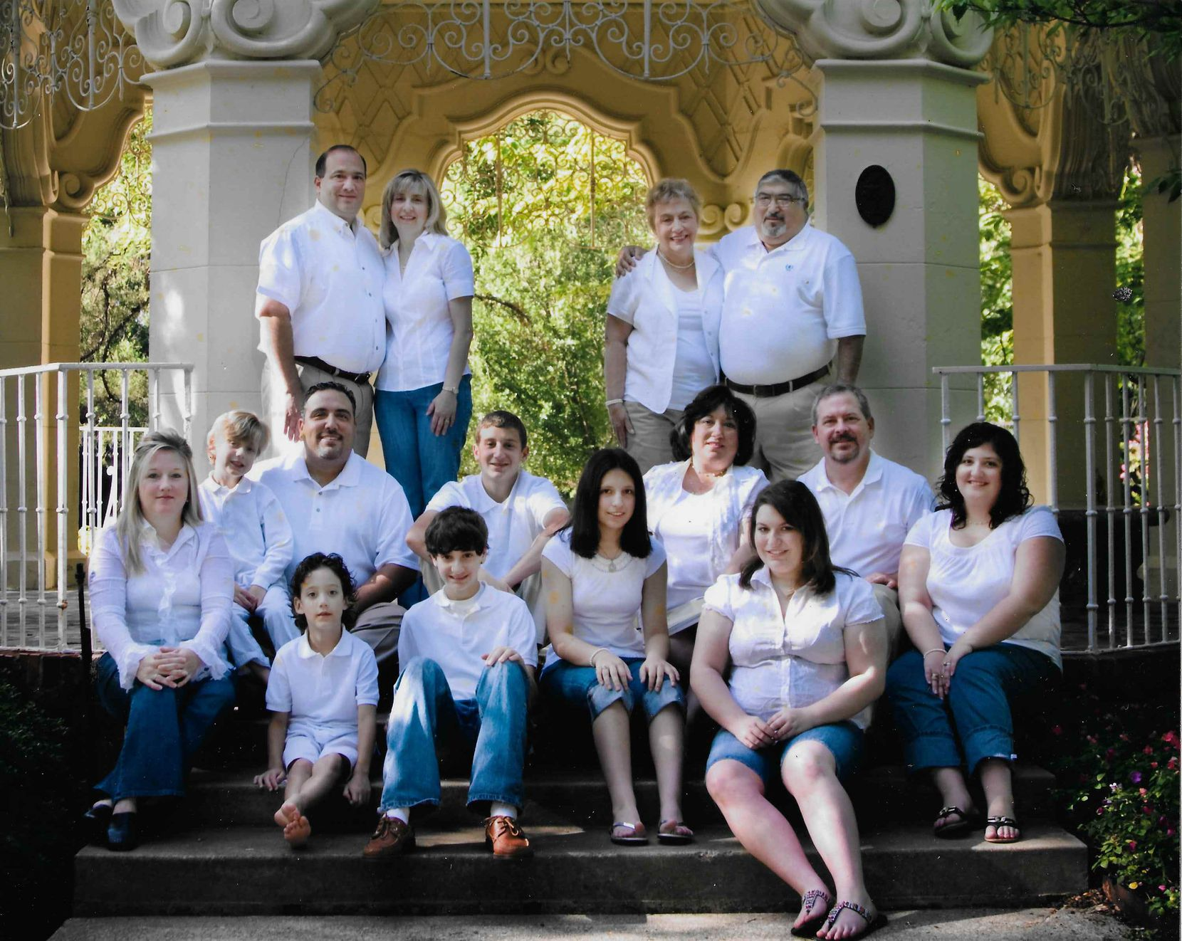 Frank and Lucy Campise (top right) joined their three children's families for a photo showing three generations in July 2008.