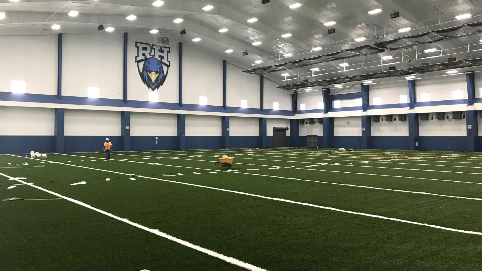 Prosper Rock Hill's football team will be playing its first year of varsity football when the school opens in fall, 2020. This photo shows an indoor practice field in the campus athletic facilities which were under construction in March 2020.