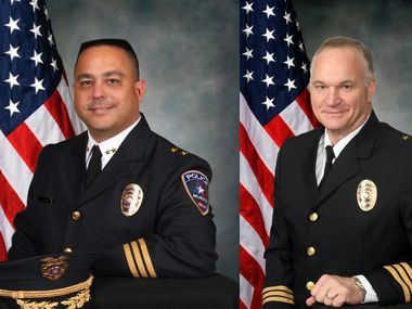 Arlington Police assistant chiefs Jaime Ayala, left, and Kevin Kolbye will lead the department in an interim basis after the departure of Chief Will Johnson.