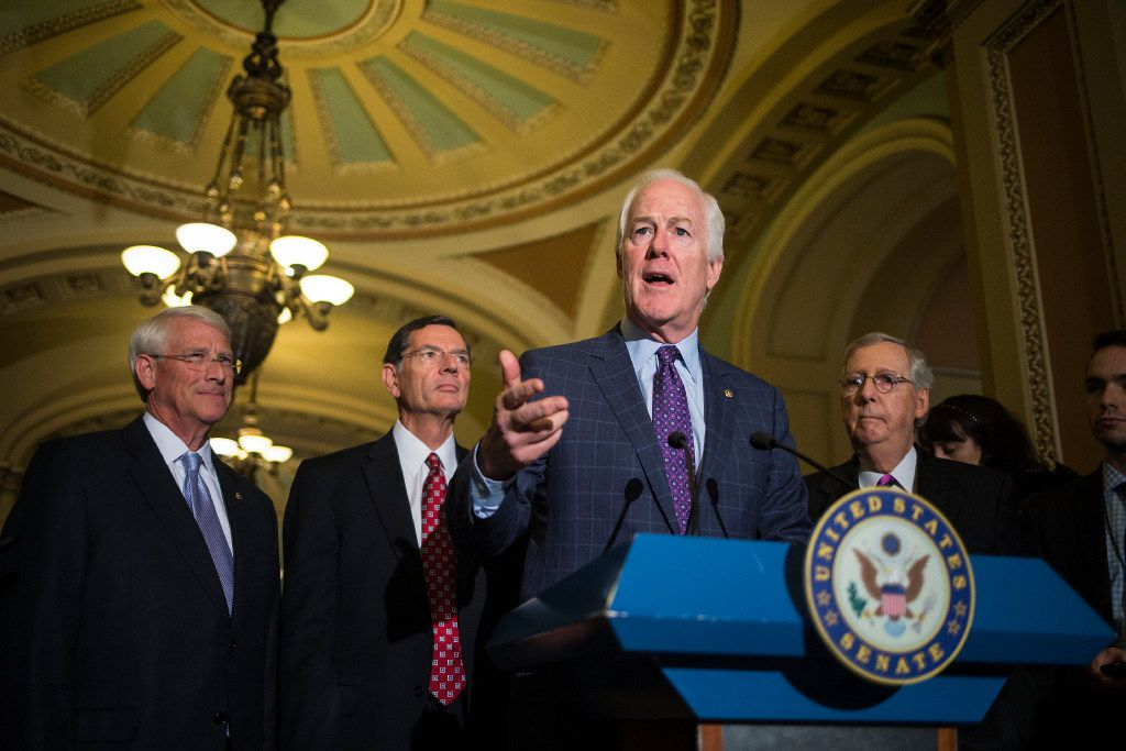 Senate Majority Whip John Cornyn, R-Texas, speaks to reporters after a weekly policy lunch for Senate Republicans on Capitol Hill on Tuesday.