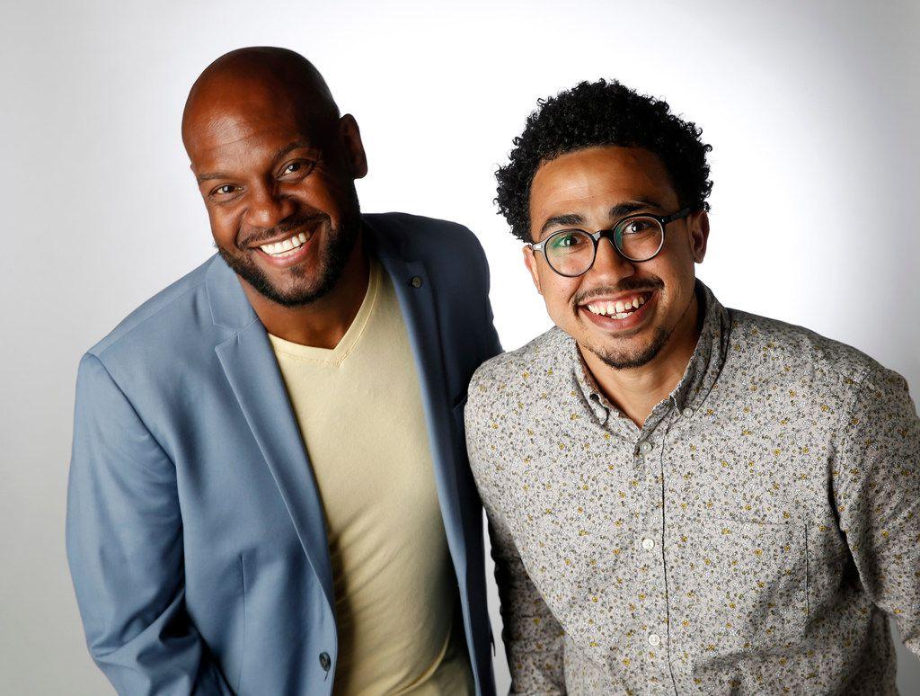 Victor Carrington of Dallas (left) and Turner Cooper of Dallas pose for a portrait in the studio in Dallas on Monday, June 11, 2018. (Vernon Bryant/The Dallas Morning News)