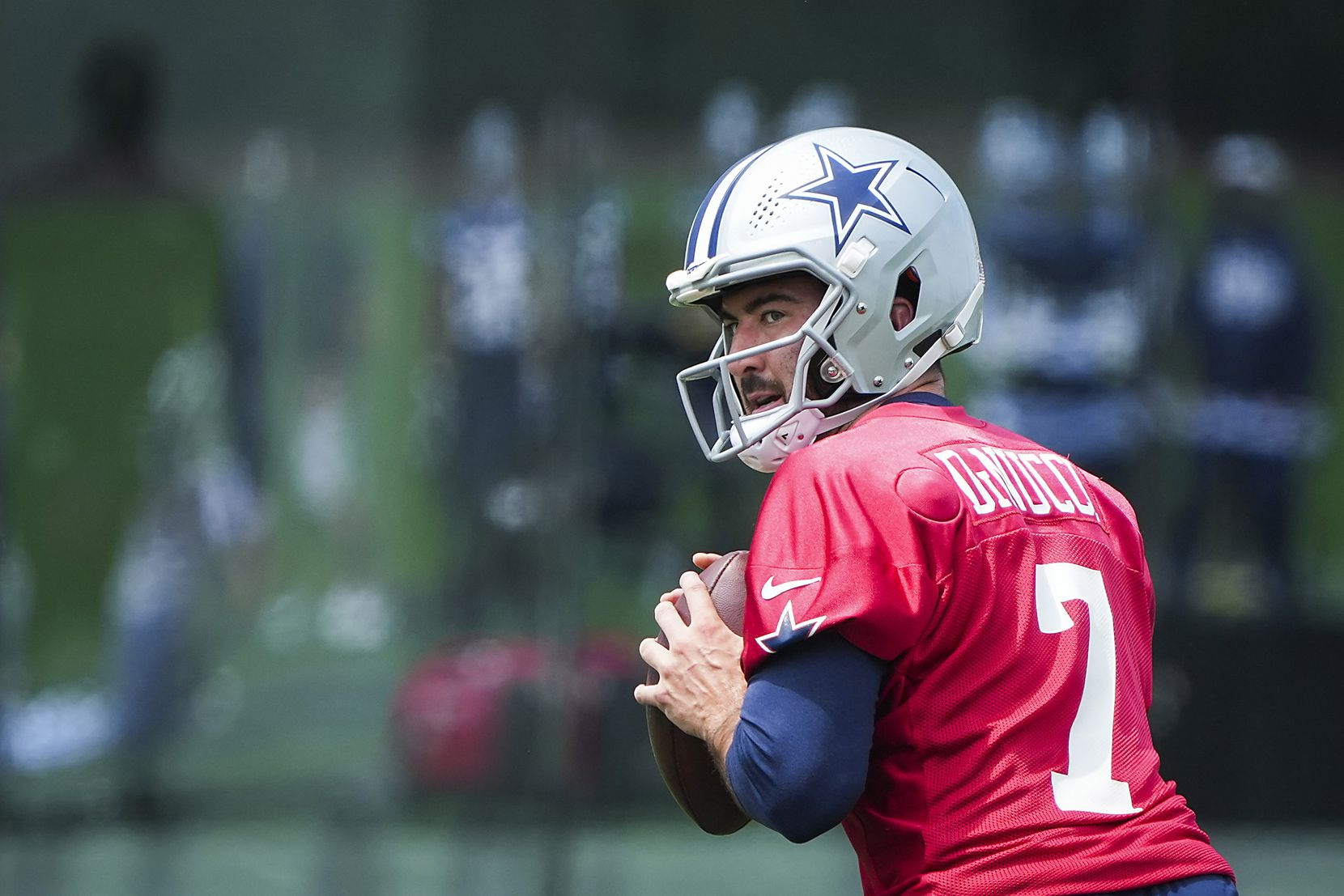 Dallas Cowboys quarterback Ben DiNucci runs a drill during a minicamp practice at The Star on Tuesday, June 8, 2021, in Frisco. (Smiley N. Pool/The Dallas Morning News)