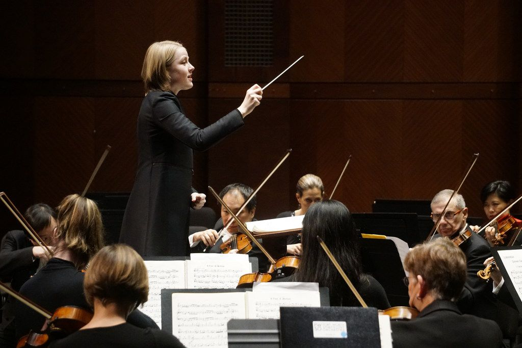 Guest Conductor Ruth Reinhardt directs the Fort Worth Symphony at Bass Performance Hall in Fort Worth on Feb. 22, 2019.