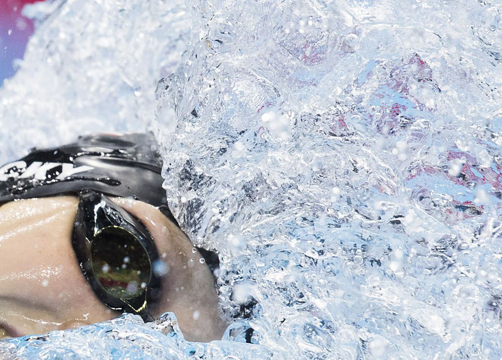 Katie Ledecky  of the USA swims in a 200m freestyle semifinal race at the Rio 2016 Olympic Games on Monday, Aug. 8, 2016, in Rio de Janeiro. (Smiley N. Pool/The Dallas Morning News)