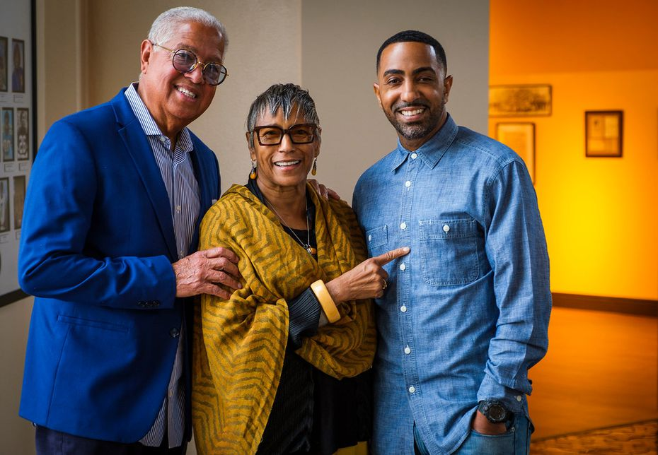 Bernard Kinsey, Shirley Pooler Kinsey and their son Khalil Kinsey, photographed during the installation of The Kinsey Collection exhibit at the African American Museum on Sept. 19, 2019, in Dallas. (Smiley N. Pool/The Dallas Morning News)