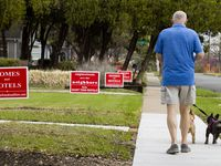 "Dale Harwell walks his dogs Nellie and Sophie by bright-red ""Homes not Hotels"" anti-short-term-rental signs on Prospect Avenue in Dallas' Edgemont Park Conservation District on Wednesday, March 24, 2021. Harwell lives next to the home being used as an Airbnb."