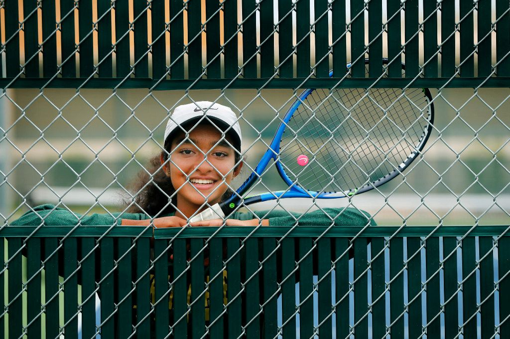 Frisco Lebanon Trail freshman girls tennis player Navya Chunduru made it to the State Finals in College Station, the first one to do so at the new high school in Frisco, Texas. Here she poses for a photo at the school's tennis courts, Tuesday, May 16, 2017. (Tom Fox/The Dallas Morning News)