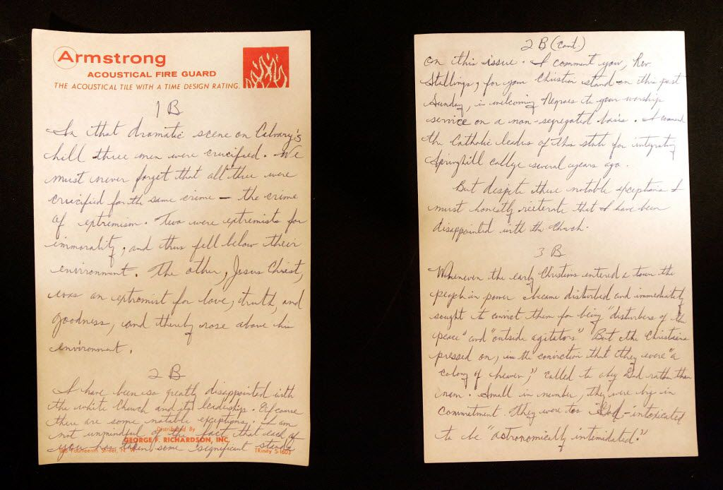 "A handwritten copy of  ""Letter from Birmingham Jail""."