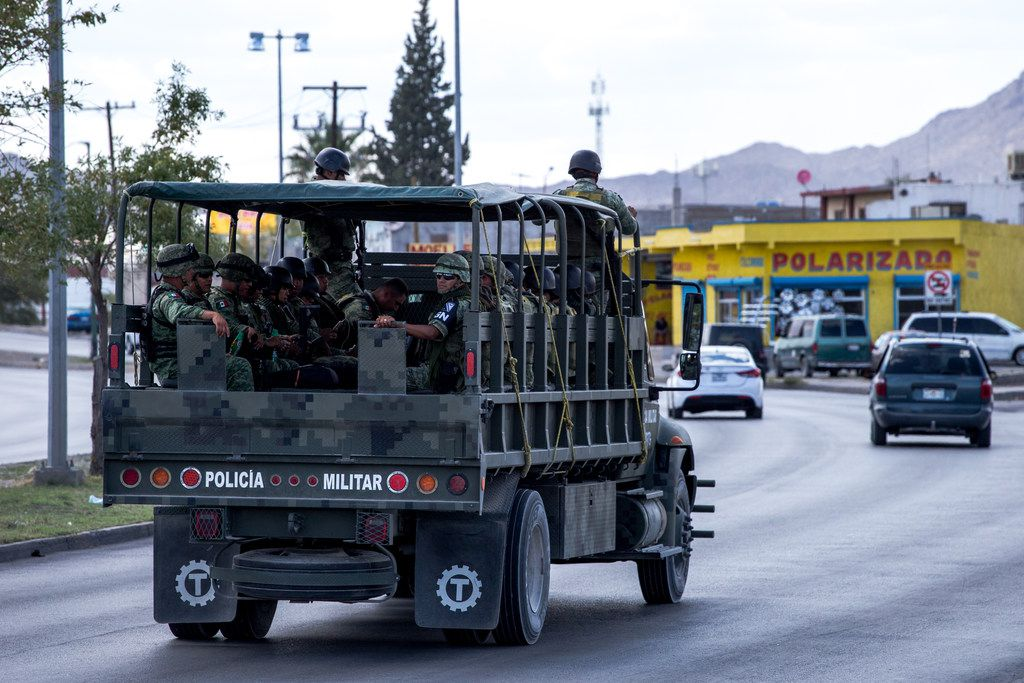 The Mexican National Guard patrols an area near the Rio Grande in Ciudad Juarez, Chihuahua, Mexico, across the border from El Paso, on Thursday, Aug. 1, 2019.