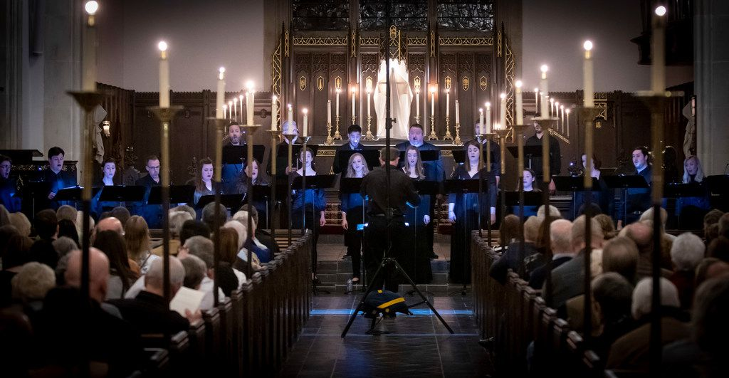 Members of the new professional chamber choir Incarnatus perform at Church of the Incarnation in Dallas on March 29, 2019.