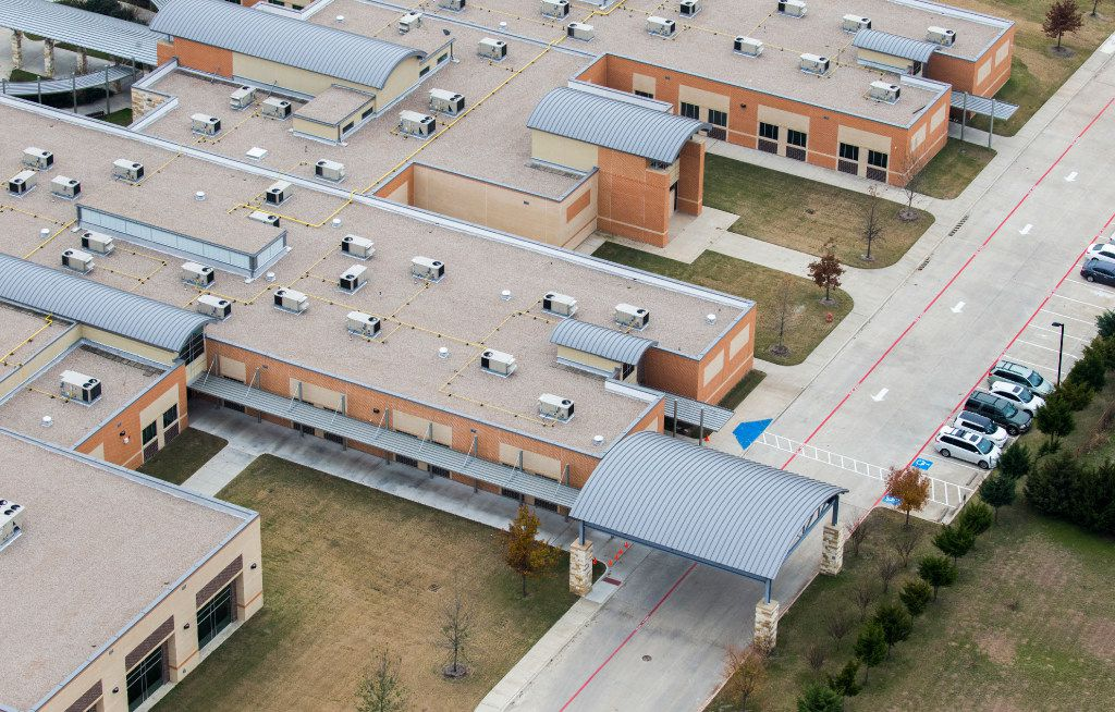 The back of Donald T. Shields Elementary School as photographed from a helicopter in December. This portion of the school was rebuilt after it was damaged during a tornado last year. (Ashley Landis/The Dallas Morning News)