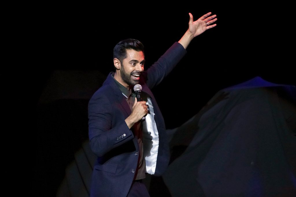 In November 2017, comedian Hasan Minhaj performs during the 11th Annual Stand Up for Heroes benefit, presented by the New York Comedy Festival and the Bob Woodruff Foundation, at the Theater at Madison Square Garden in New York.
