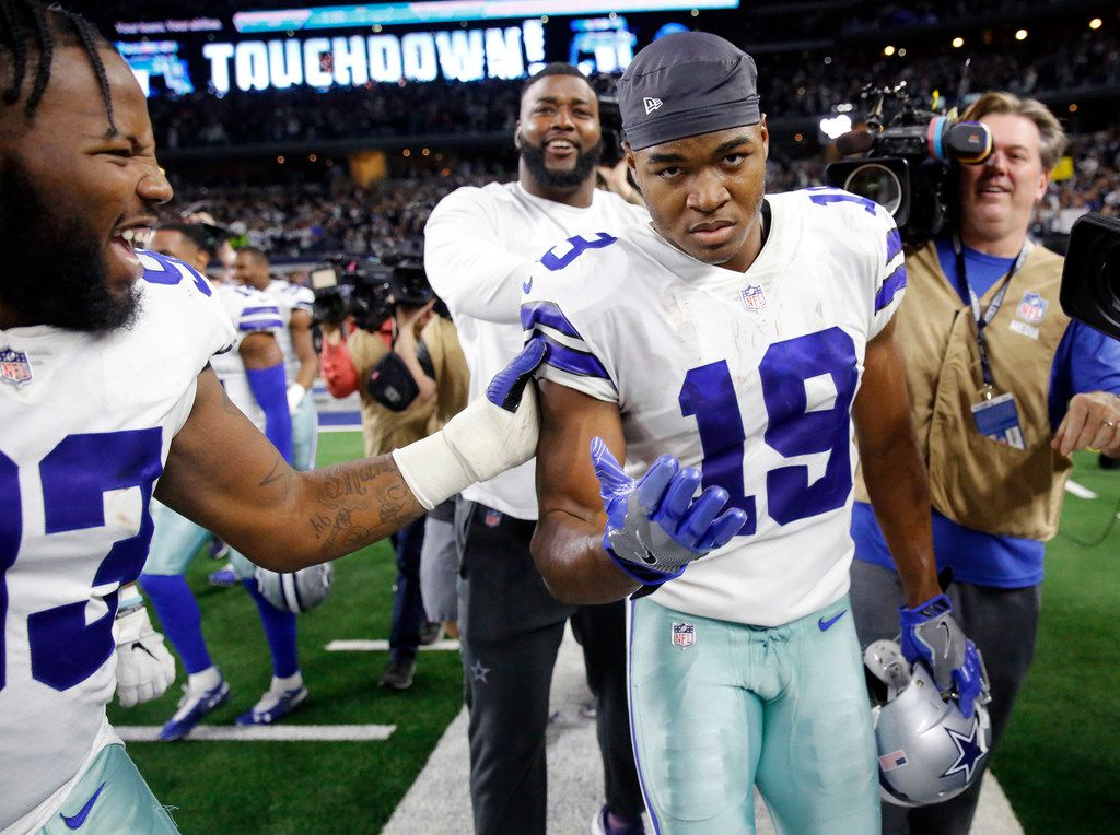 Dallas Cowboys wide receiver Amari Cooper (19) is congratulated by teammates after scoring the game-winning touchdown in the overtime against the Philadelphia Eagles at AT&T Stadium in Arlington, Texas, Sunday, December 9, 2018. The Cowboys won, 29-23. (Tom Fox/The Dallas Morning News)