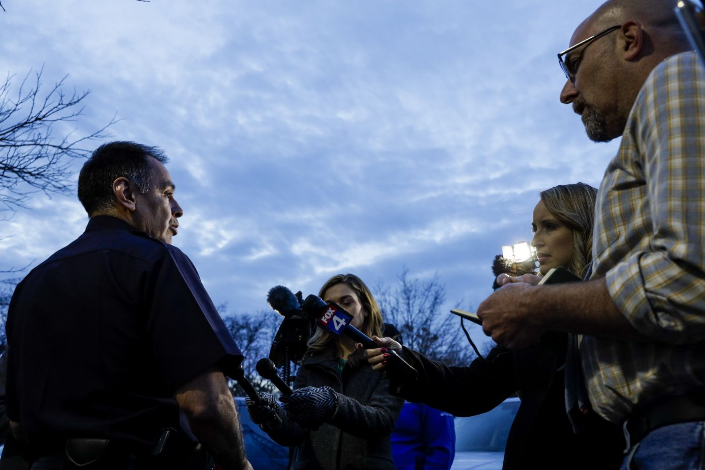 Dallas Police Dept. public information officer Thomas Castro gives remarks about an alleged incident involving a vehicle driven by Dallas City Councilperson Kevin Felder, at Park In the Woods Recreation in Dallas on Wednesday, Feb. 13, 2019.