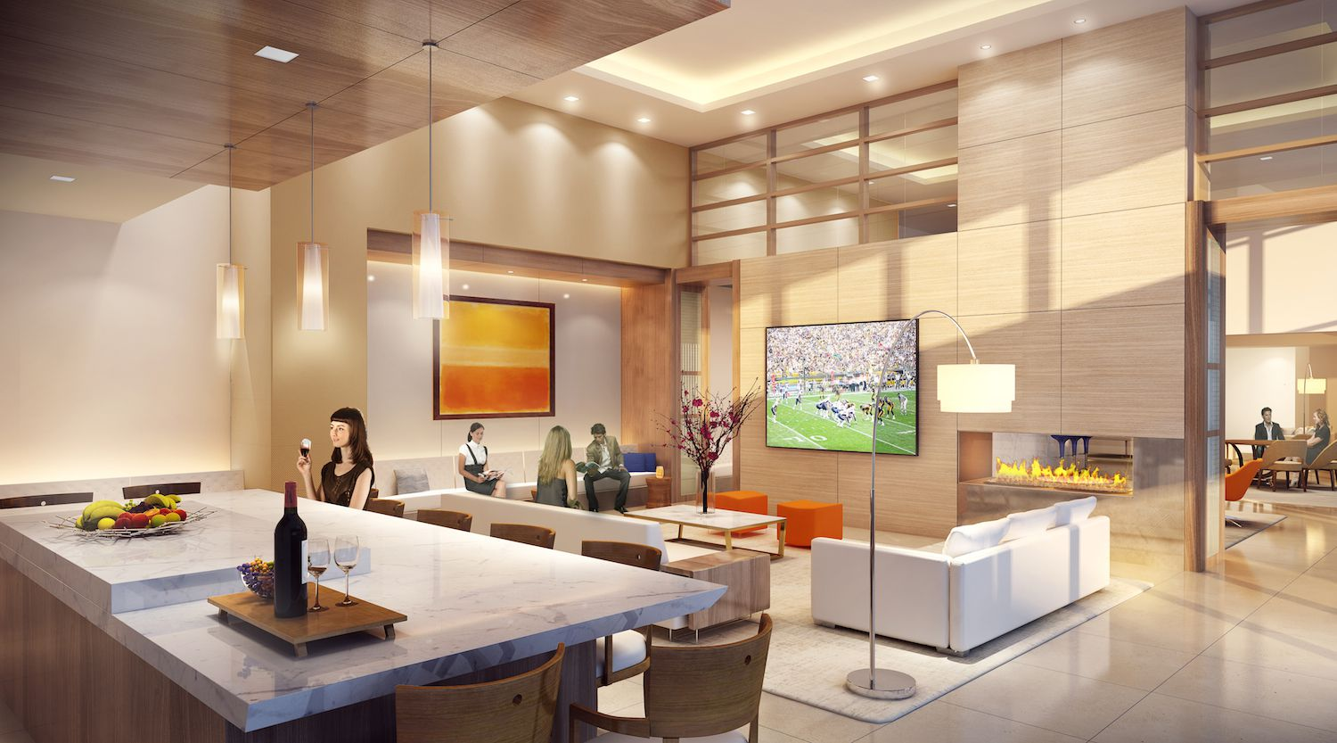 The clubroom in The Katy apartments.