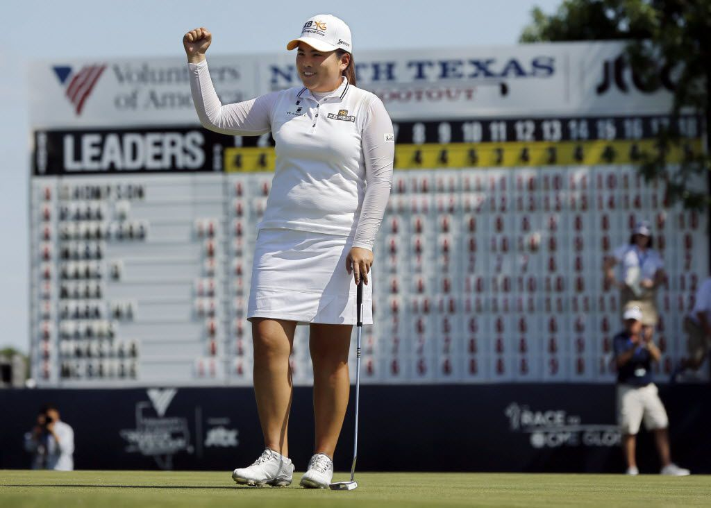 Inbee Park celebrates her win on the 18th hole during the final round of the Volunteers of America North Texas Shootout LPGA golf tournament Sunday, May 3 at the Las Colinas Country Club in Irving, Texas. (G.J. McCarthy/The Dallas Morning News) 05042015xSPORTS