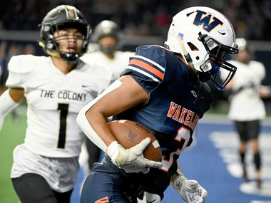 Frisco Wakeland's Michael Flanagan (3) catches a touchdown pass in front of The Colony's Hudson Duong (1) in the first half of Wakeland's 49-13 win Friday. (Matt Strasen/Special Contributor)