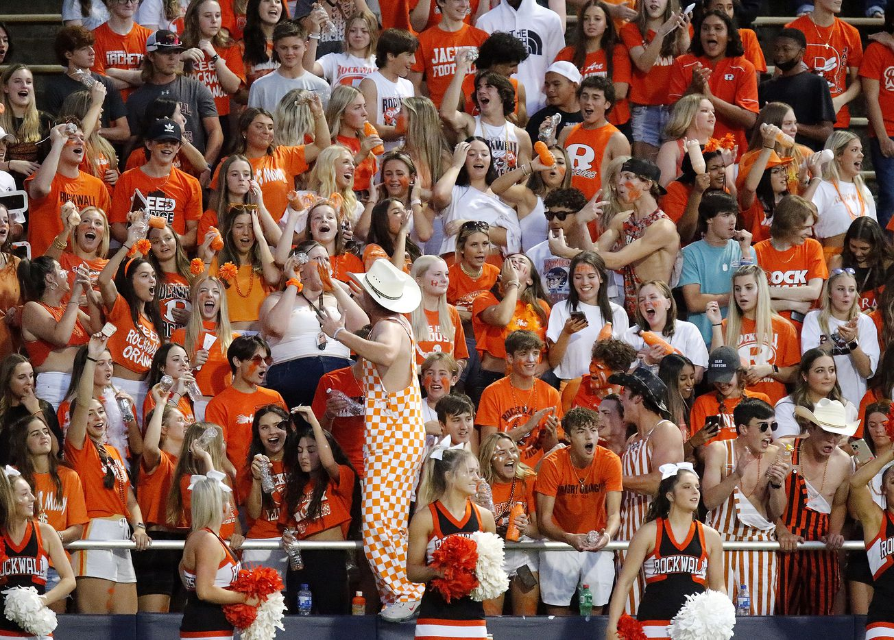 The Rockwall High School student section celebrates a touchdown during the first half as Highland Park High School hosted Rockwall High School at Highlander Stadium in Dallas on, Friday, September 17, 2021. (Stewart F. House/Special Contributor)