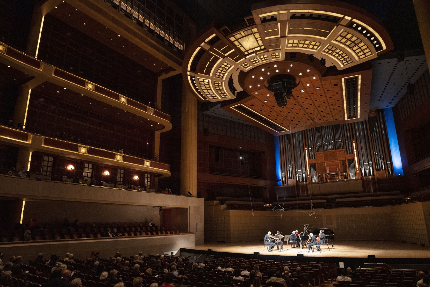 In April, pianist and Dallas Symphony Orchestra Arist-In-Residence, Emanuel Ax, on piano, with musicians from the Dallas Symphony Orchestra at the Meyerson.