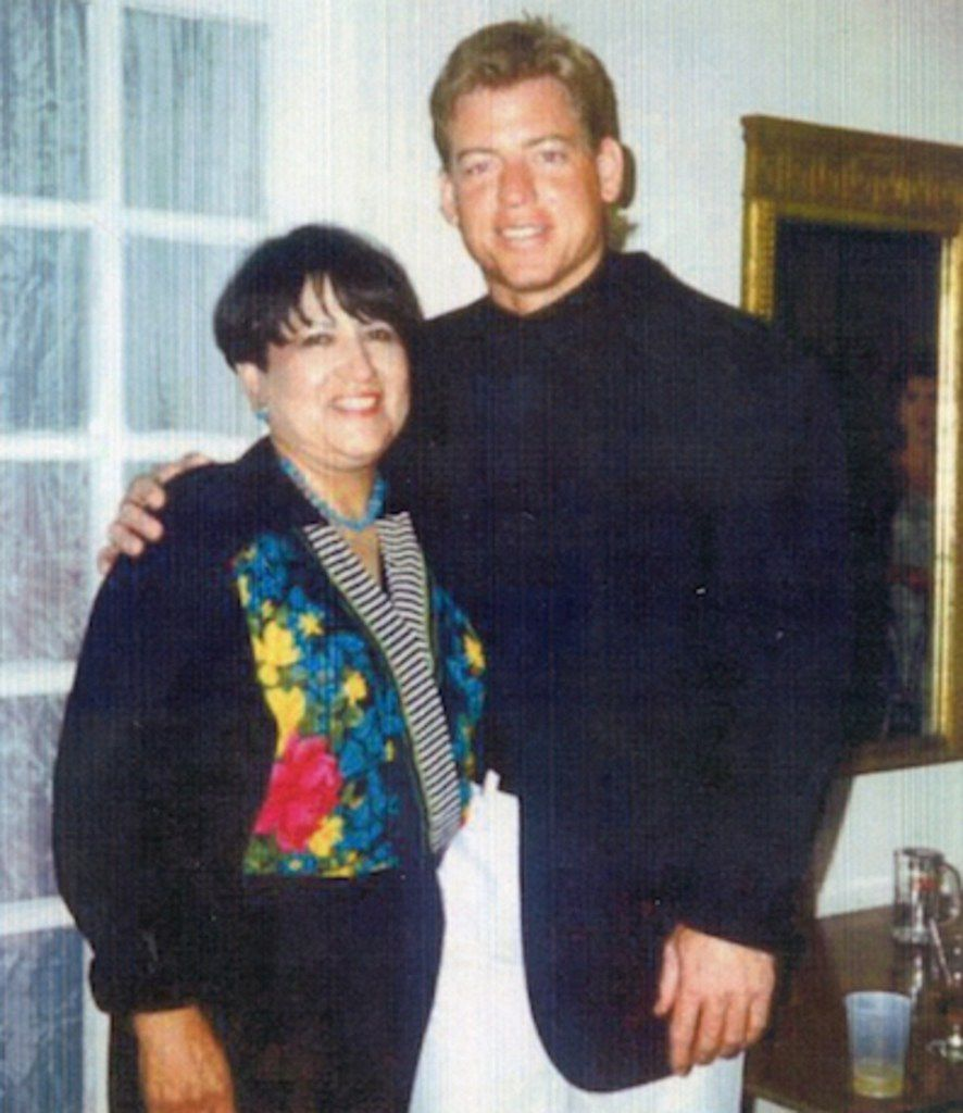 Troy Aikman at Henryetta (Okla.) High School with typing teacher Jean Froman.