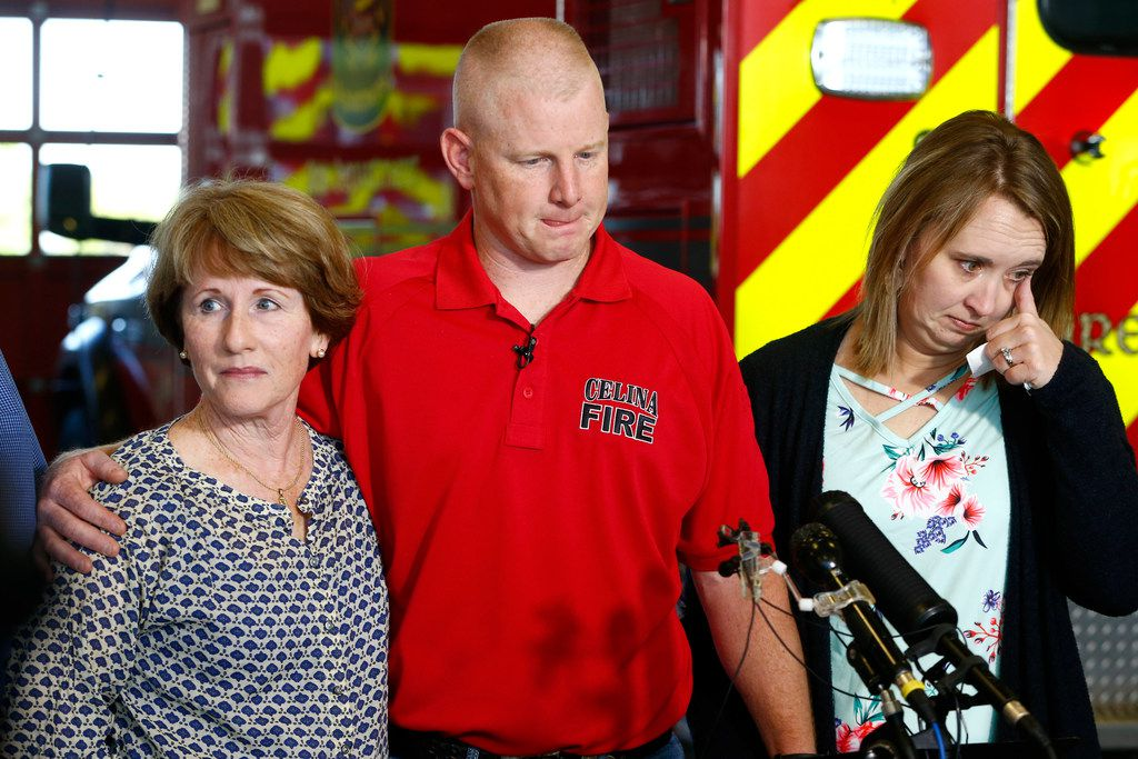 Andrew Needum, with  mother Julie Needum (left) and wife Stephanie Needum, spoke  talk about spoke his  experience aboard Southwest Airlines  1380at Celina City Fire Department on April 19, 2018. Andrew Needum, a firefighter and paramedic, performed CPR on Jennifer Riordan, the woman pulled through the window of the plane.