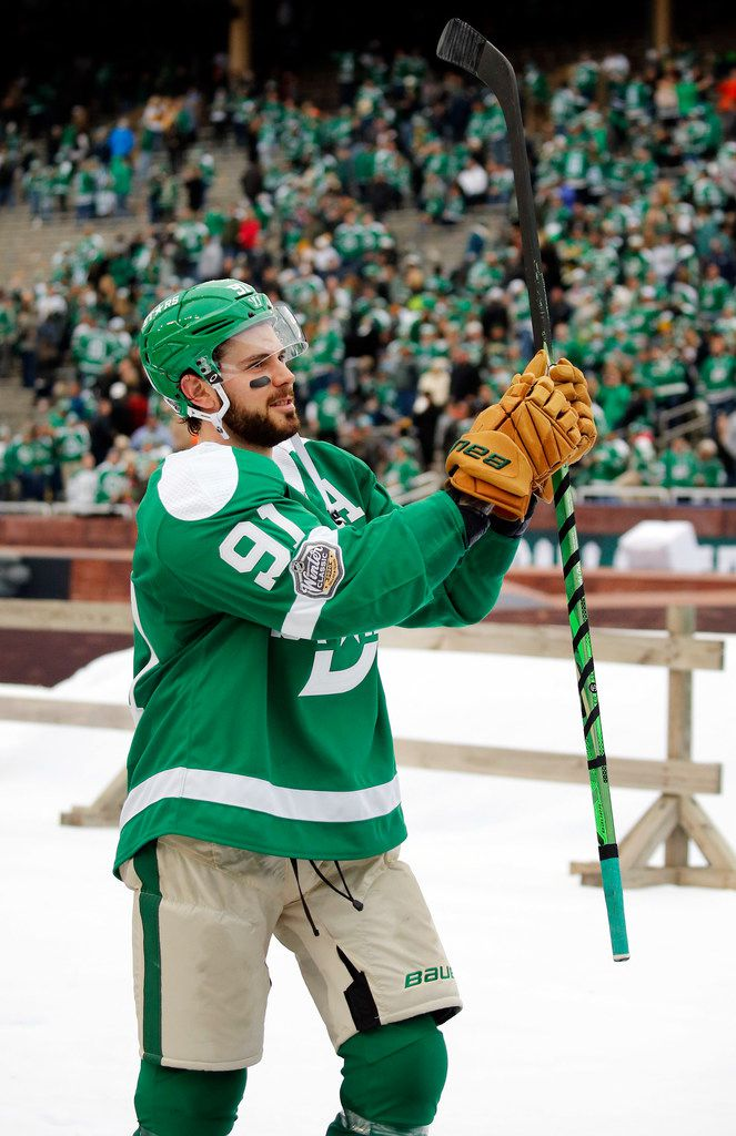 Dallas Stars center Tyler Seguin (91) applauds the crowd for their support after playing the Nashville Predators in the NHL Winter Classic hockey game at the Cotton Bowl in Dallas, Wednesday, January 1, 2020. The Stars came back to win, 4-2. (Tom Fox/The Dallas Morning News)