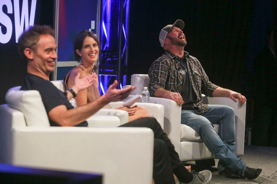 Garth Brooks, right, and the Wall Street Journal's Hannah Karp, center, laugh as Amazon Worldwide Digital Music vice president Steve Boom makes a comment during a keynote conversation during the South by Southwest Music Festival on Friday, March 17, 2017, in Austin.