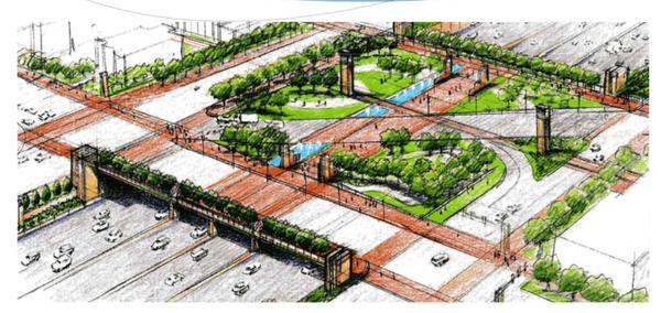 Proposed deck park over Interstate 30