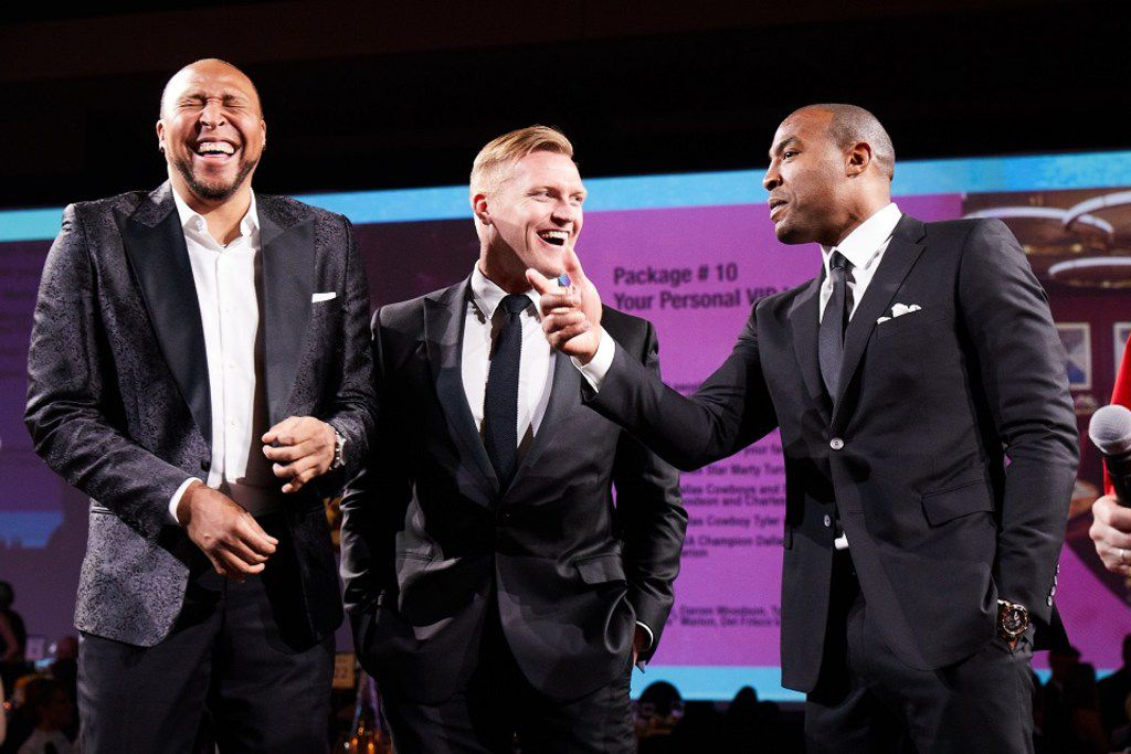 """From left: Former Dallas Mavericks NBA Champion Shawn """"The Matrix""""  Marion, former Dallas Cowboys fullback Tyler Clutts and former Dallas Cowboys Super Bowl Champion Darren Woodson took part in the live auction at this year's Cotes du Coeur. The athletes auctioned off a VIP Sports Package that included a private dinner with them."""