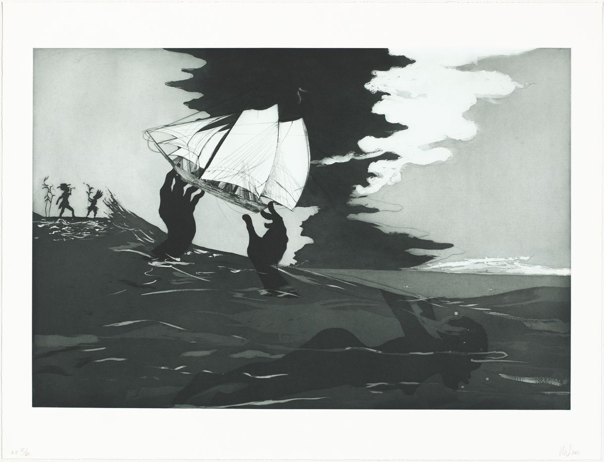 Kara Walker, no world, from An Unpeopled Land in Uncharted Waters, 2010, etching, aquatint, sugarlift aquatint, spitbite aquatint, and drypoint, National Gallery of Art, Washington, Donald and Nancy deLaski Fund