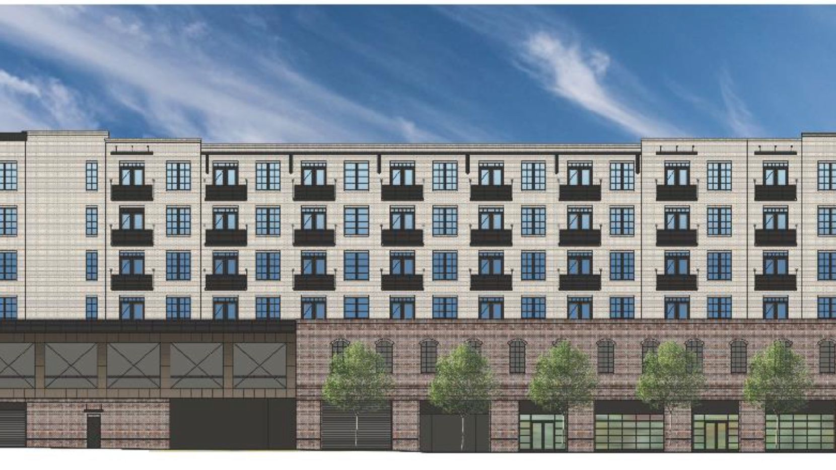 The six-story building will have 100 apartments.