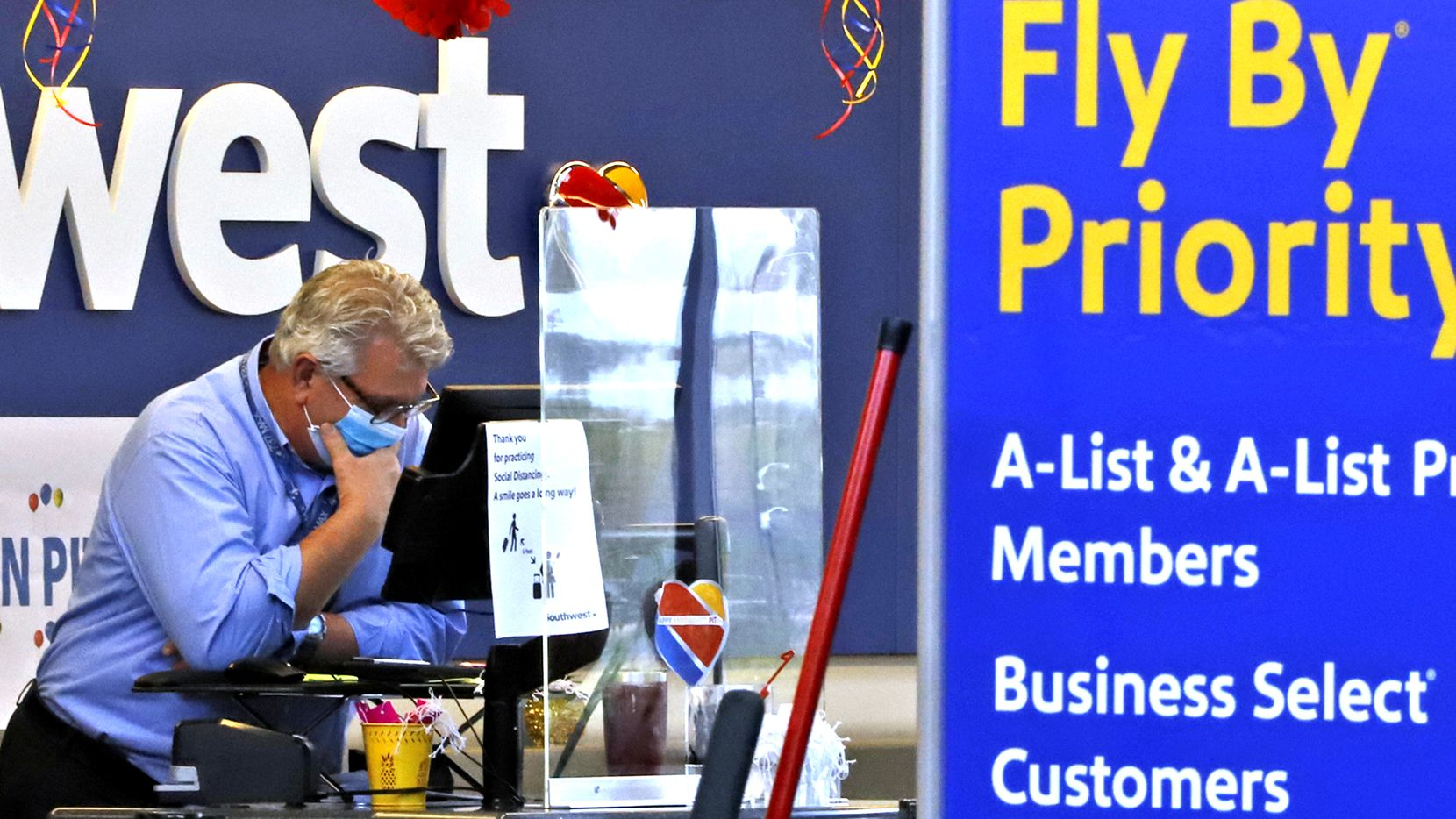 A Southwest Airline ticket counter at Greater Pittsburgh International Airport on May 7, 2020. (AP Photo/Gene J. Puskar)