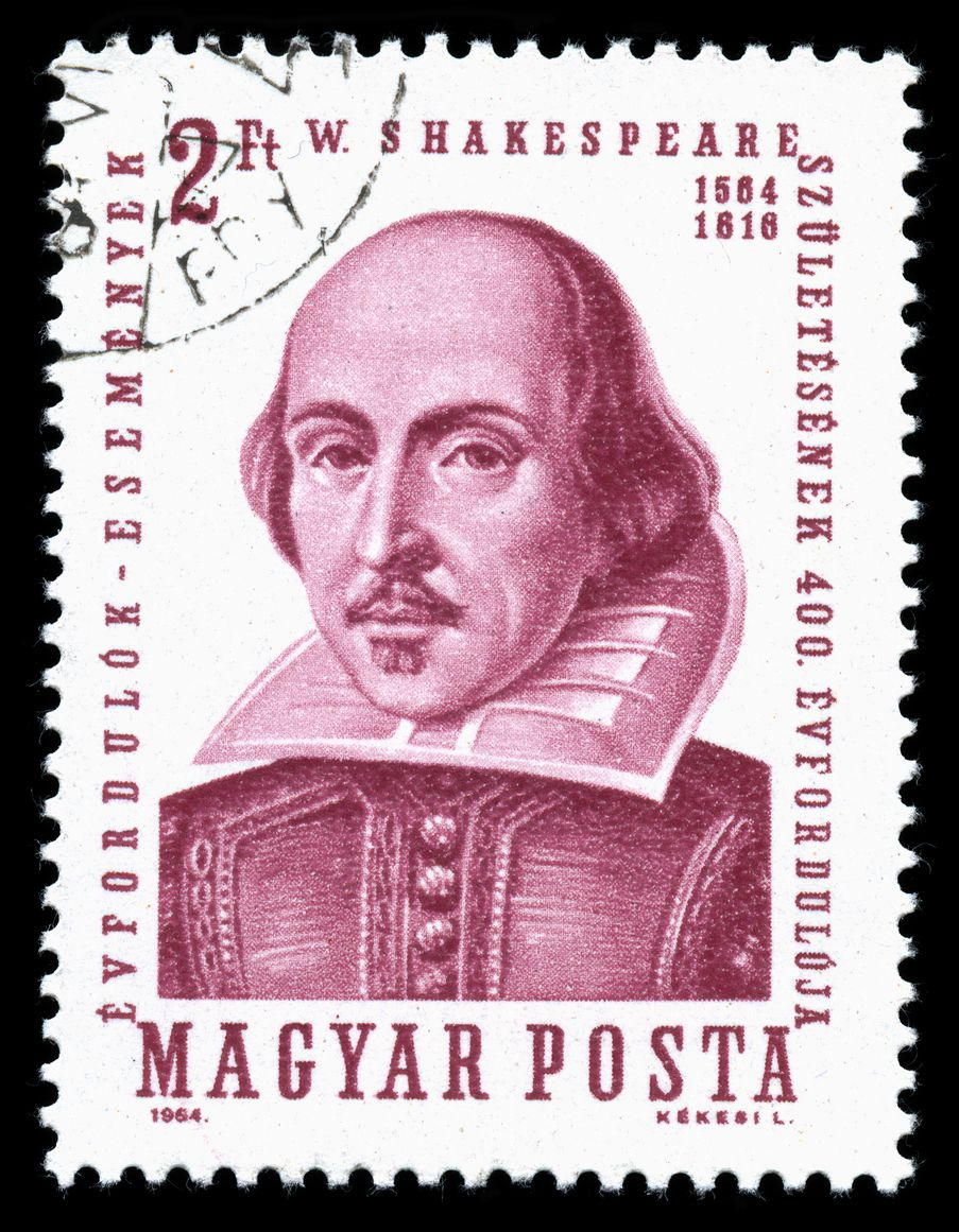 (London, U.K., July 30, 2014) A vintage 1964 Hungary cancelled postage stamp shows a portrait image of  William Shakespeare.