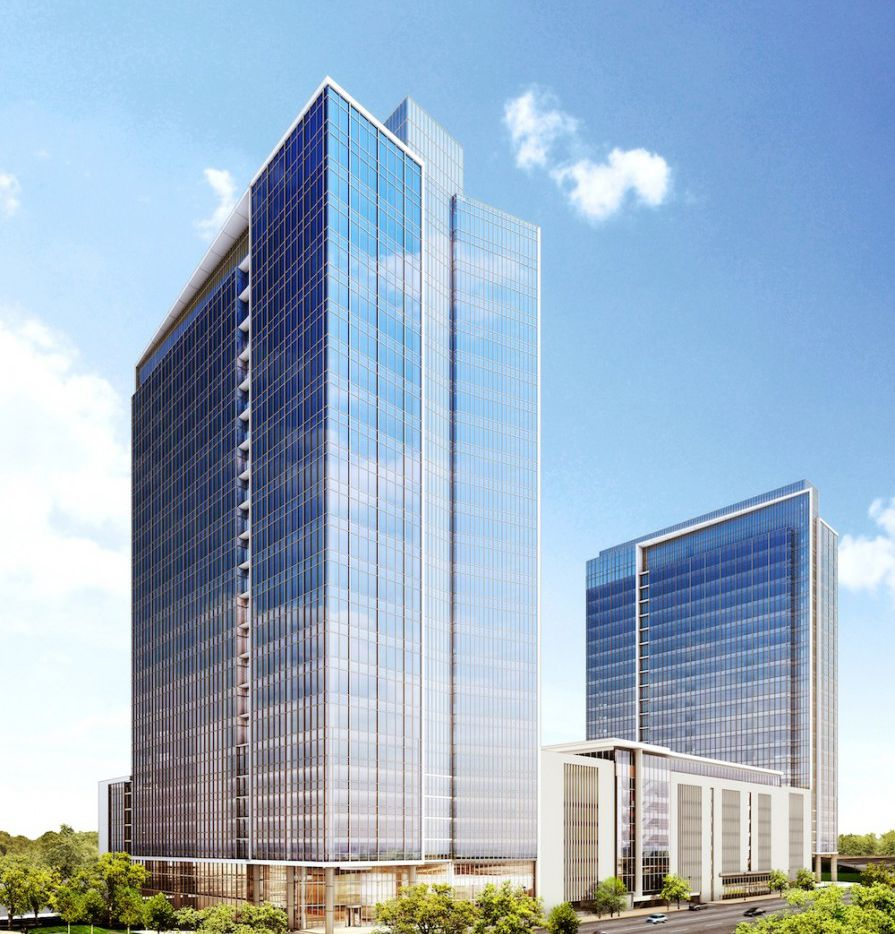 Hillwood is drawing up plans for several office towers it can build in Victory Park on Stemmons Freeway. (Hillwood Urban)