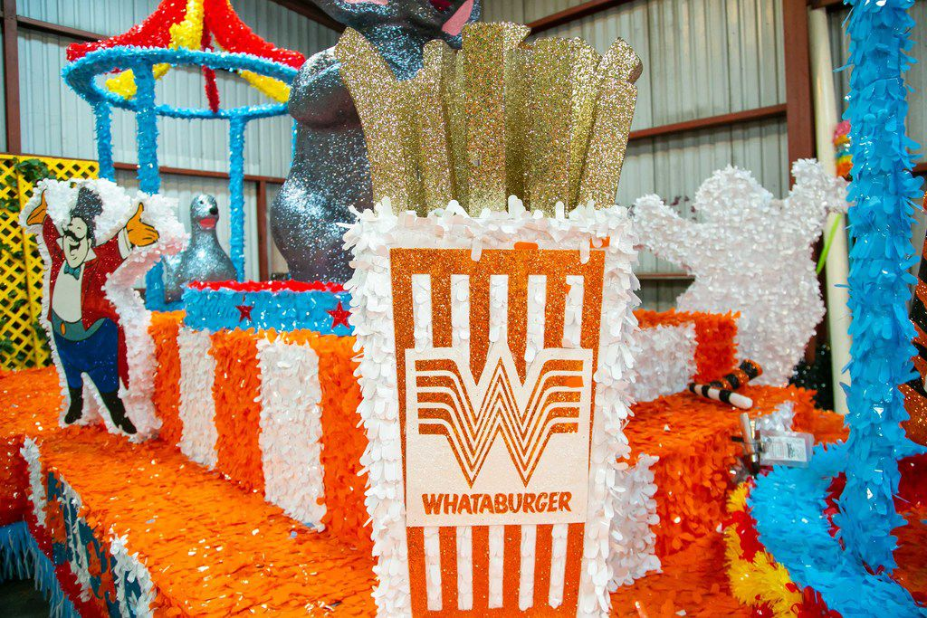The Whataburger-themed float that was part of the Battle of Flowers Parade during Fiesta San Antonio.