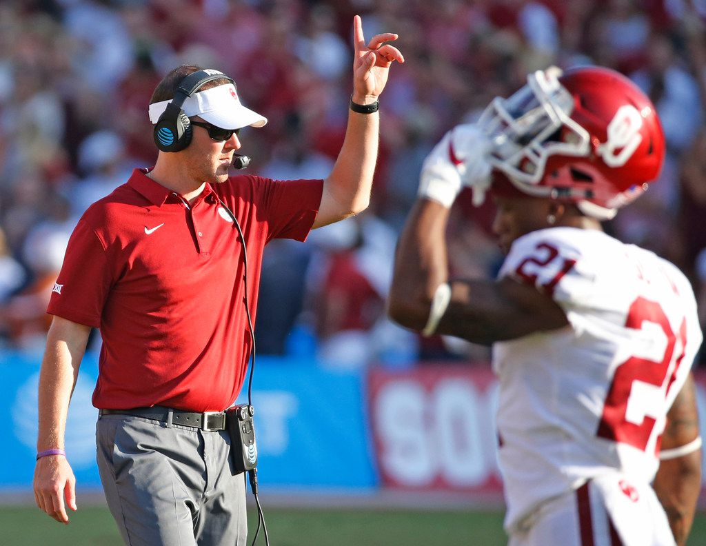 Oklahoma head coach Lincoln Riley is pictured during the Oklahoma University Sooners vs. the University of Texas Longhorns NCAA college football game at the Cotton Bowl in Dallas on Saturday, October 14, 2017.